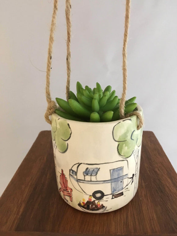 Vintage Trailer Hanging Plant Pot, Handmade Pottery - Two Hoots Gift Gallery