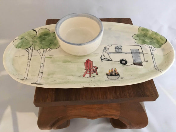 Vintage Trailer Serving Tray and Dip Bowl, Handmade Pottery - Two Hoots Gift Gallery