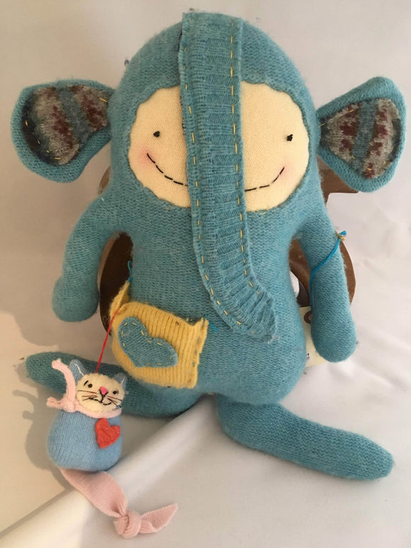 Wooly Critters: Cambri Blue Elephant - Two Hoots Gift Gallery