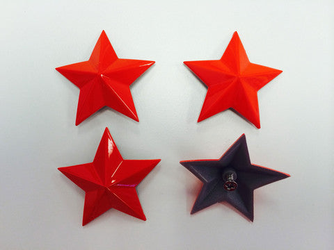 Cap Stars - Fire Red - Wheel Center Caps - MSA Wheels - 1