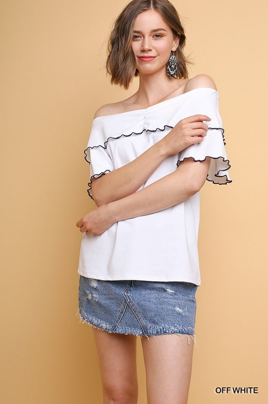 SALE T shirt blanca con cuello