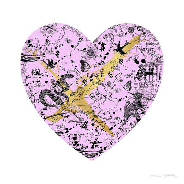 She Came To Break Hearts Pink/Gold - Joseph Klibansky - Art For Heroes
