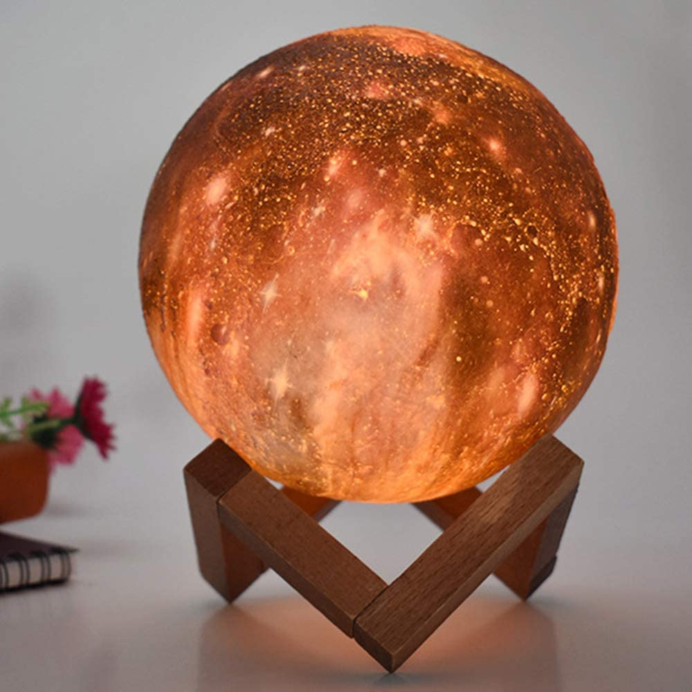 Glowing Galaxy Moon Lamp