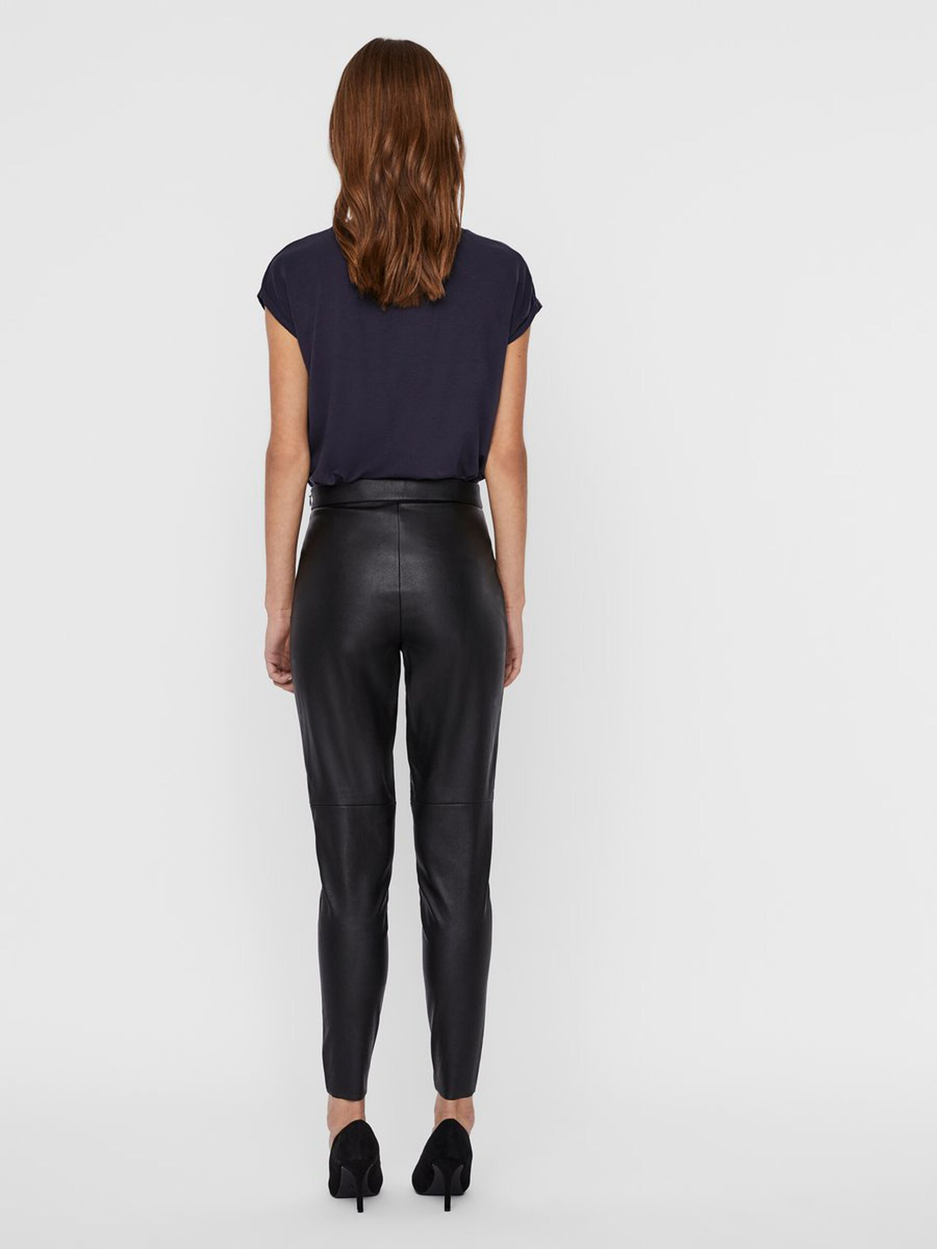 Vero Moda Janni Faux Leather Leggings- Black back profile
