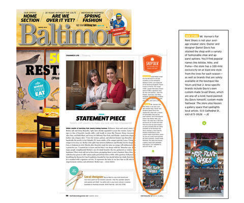 For Rent Shoes, a concept sneaker store in Baltimore, featured in Baltimore Magazine