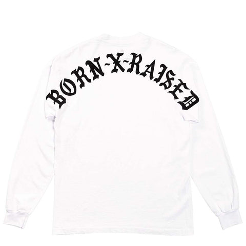 BornxRaised - Backside LS Tee - White