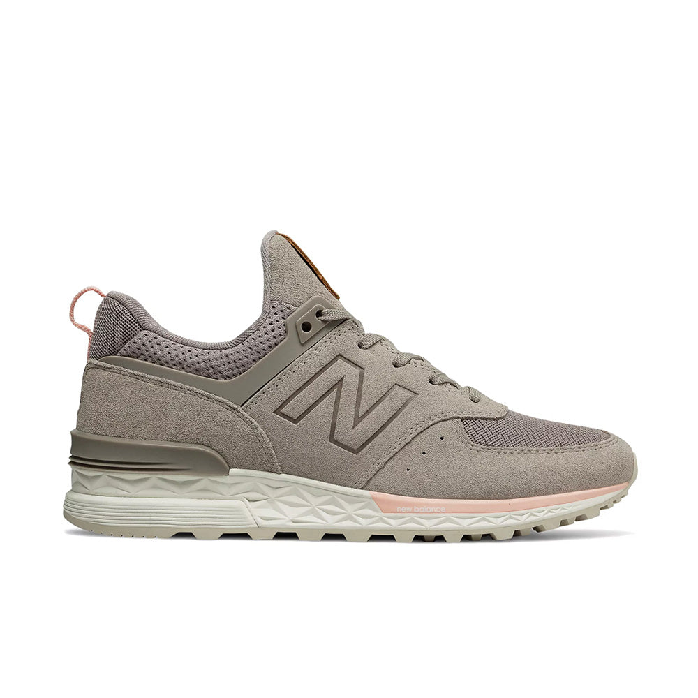 New Balance - Women's 574 Sport (WS574PMC) - Flat White with Himalayan Pink - FRS