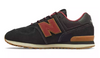 New Balance - Boy's 574 Classic (PC574TT) - Black with Earth Red - FRS