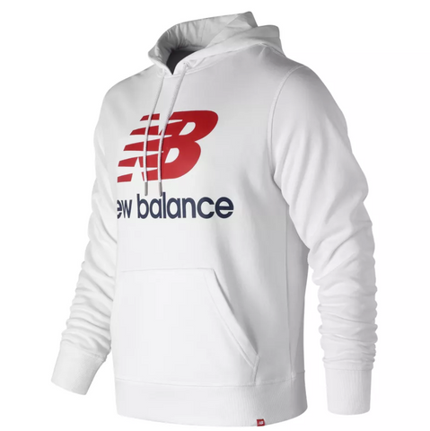 New Balance - Essentials Stacked Logo Pullover Hoodie - White