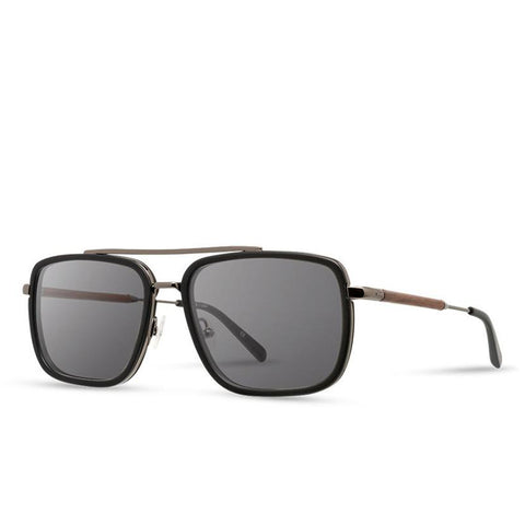 Shwood - Grant: Matte Black & Black Chrome // Walnut - Grey Polarized