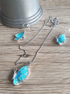 Blue & turquoise butterfly drop earrings and pendant necklace set | Jewelry Set Women Crystal Gift Fashion Rhinestone Free Shipping Girls