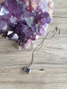 Elegant necklace with a large purple stone and many other shiny transparent crystals | Pendant Jewelry Crystal Chain Women Gift New Fashion