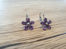 Load image into Gallery viewer, Earrings Flower Purple Crystal Hook Stud Dangle Sterling Silver Women Plated New Rose Jewelry Elegant