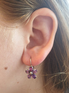 Earrings Flower Purple Crystal Hook Stud Dangle Sterling Silver Women Plated New Rose Jewelry Elegant
