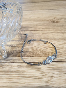 Bracelet 3 Crystals Transparent Beads Vintage Bangle Geometric Jewelry Silver Sterling Wedding Charm Gift New Handmade
