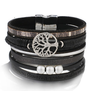 Tree of Life Leather Bracelets for Women & Ladies - Bohemian Multi layer Wide Wrap Fashion Bracelet Female Jewelry