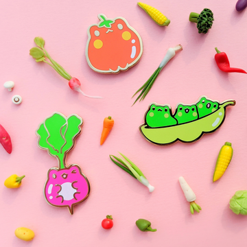 Frogetable Enamel Pins