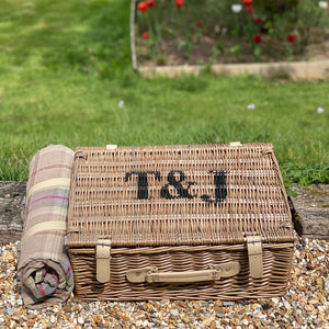 Personalised Four Person Tartan Picnic Basket And Blanket