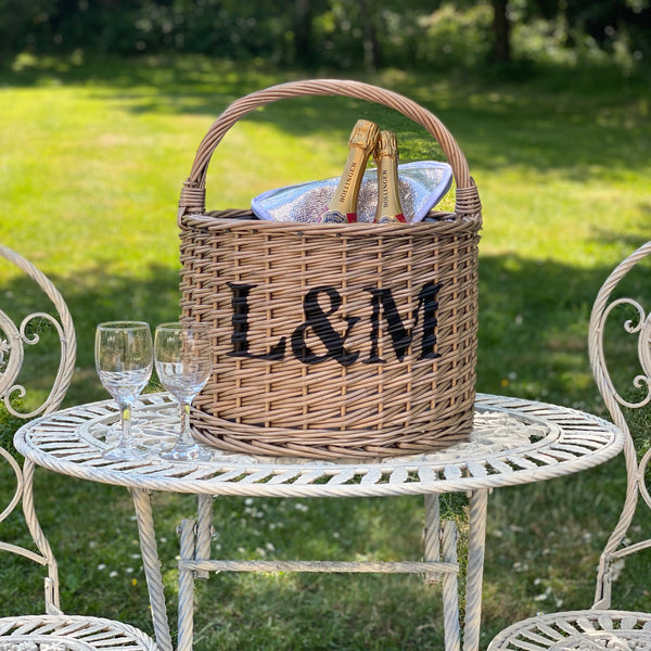 Personalised Round Grey Chiller Basket