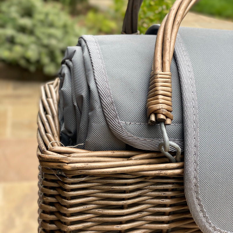 Personalised Grey Cooler Basket and Picnic Blanket