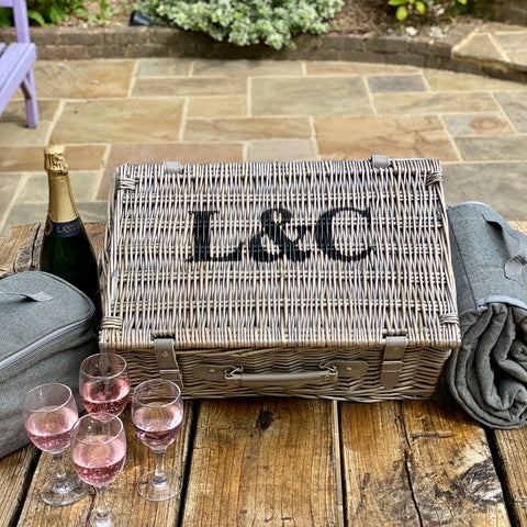 Personalised Four Person Grey Tweed Picnic Basket And Blanket