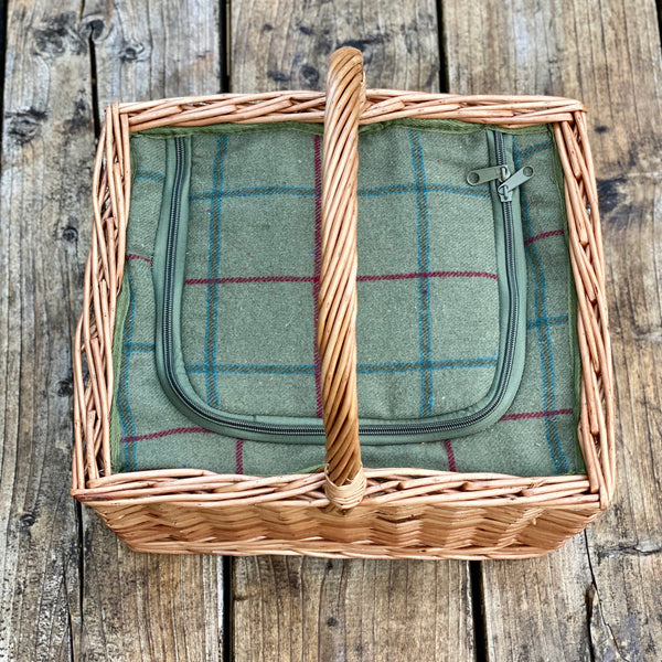 Personalised Square Green Tartan Cooler Basket