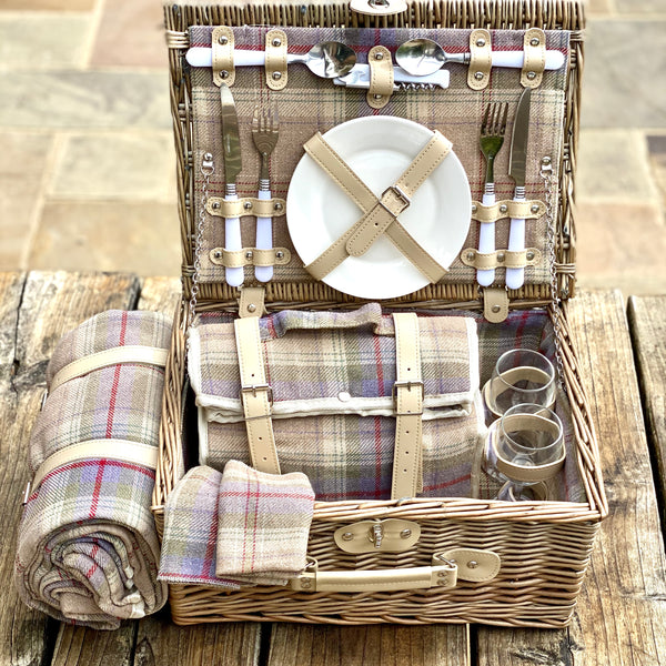 Personalised Two Person Tartan Picnic Basket And Blanket