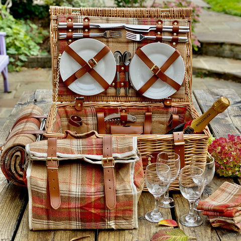 Personalised Autumnal Red Tartan Picnic Basket with Blanket for Four People