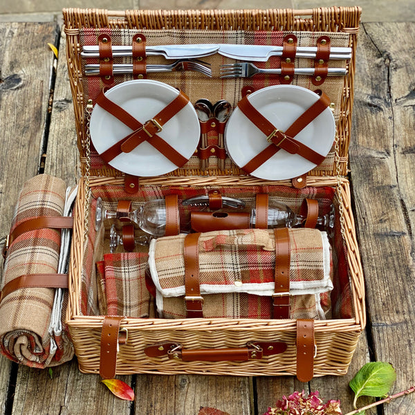 Personalised Red Tartan Picnic Basket with Blanket for Four People