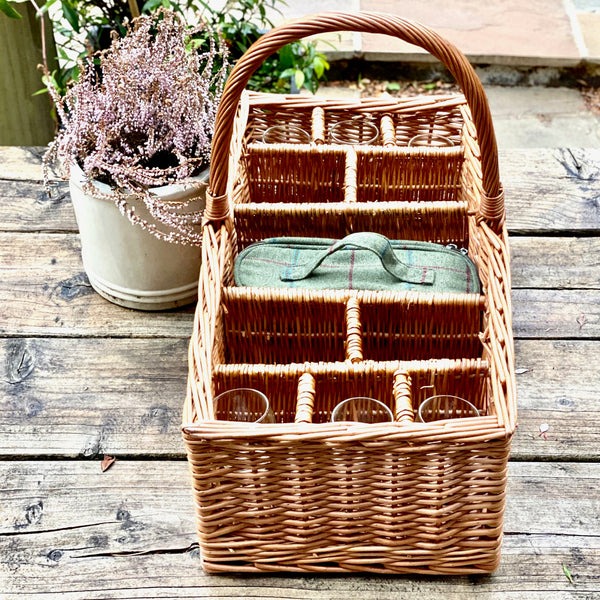 Personalised Autumnal Party Basket with Six Glasses and Cooler Bag