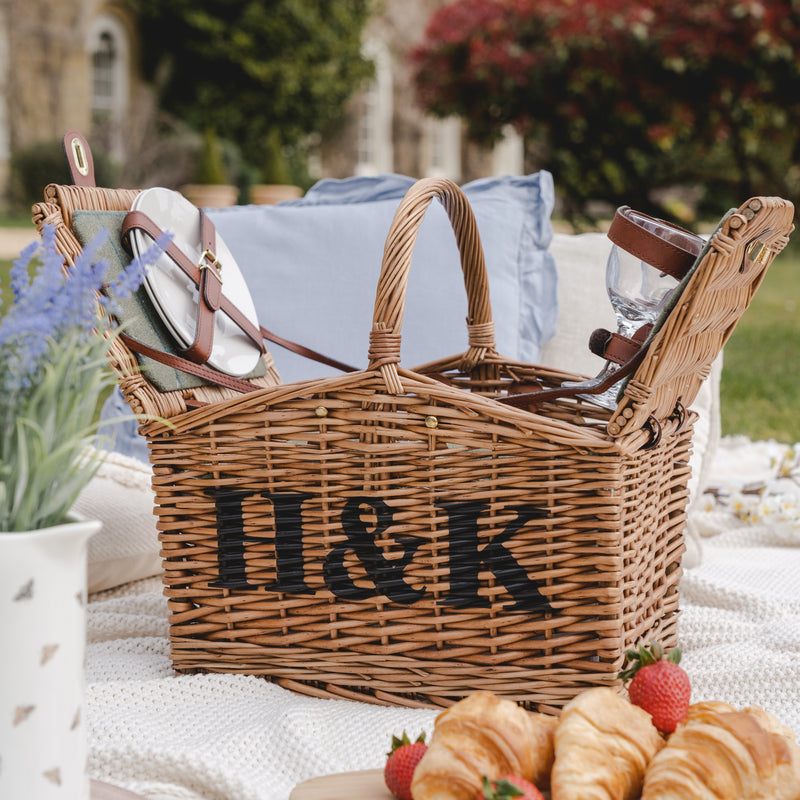 Personalised Double Lidded Two Person Picnic Basket