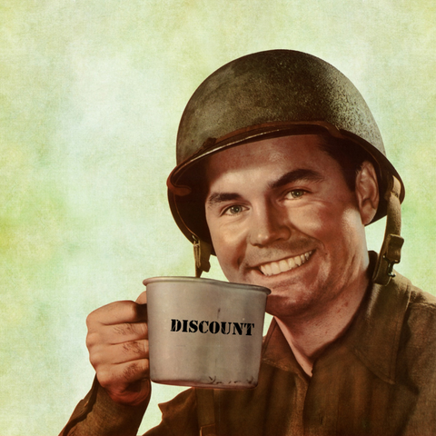 happy soldier, holding an army mug