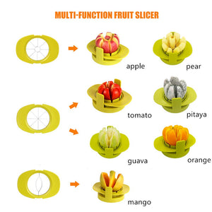 Vittim™ 4-in-1 Apple Pear Mango Tomato Guava Orange Pitaya Fruit Vegetables Slicer Corer Cutter with Common Base Kitchen Gadget