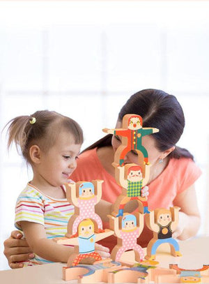 Wooden Hercules Balance Stacking High Building Blocks Kids Educational Development Toys
