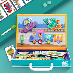 Magnetic puzzle travel game educational learning toys for preschool children