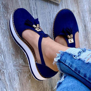 Women's Leather Fringed Platform Flat Shoes