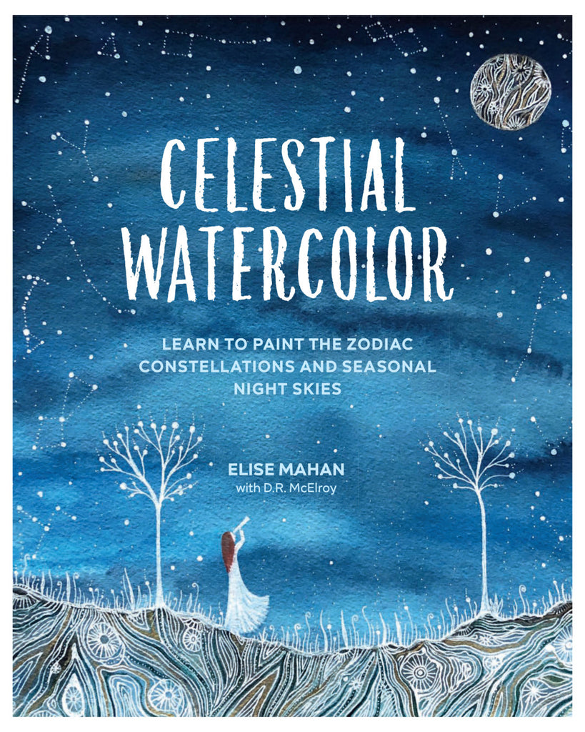 Celestial Watercolor, Artist Elise Mahan teaches you how to paint the beautiful night skies with Zodiac constellations, as well as the 12 moons from Native American and spiritual traditions.