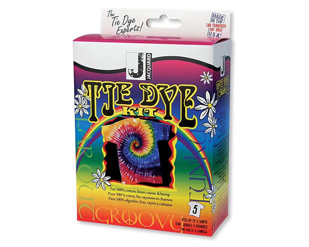 Jacquard Funky Groovy Tie Dye Kit, Fun for all ages, this kit is a fantastic introduction to tie-dye and includes three pre-mixed colours of Procion MX dye.