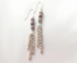 Amethyst Jade and Clear Glass Chainmaille Earrings