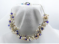 Bridal Collection - Freshwater Pearls, Dark Blue Crystals