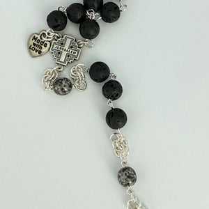 Lava Stone and Silver Crazy Lace Agate Rosary