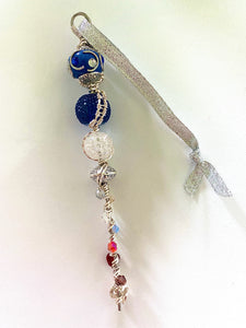 Dark Blue, White & Silver Wire Wrapped Icicle