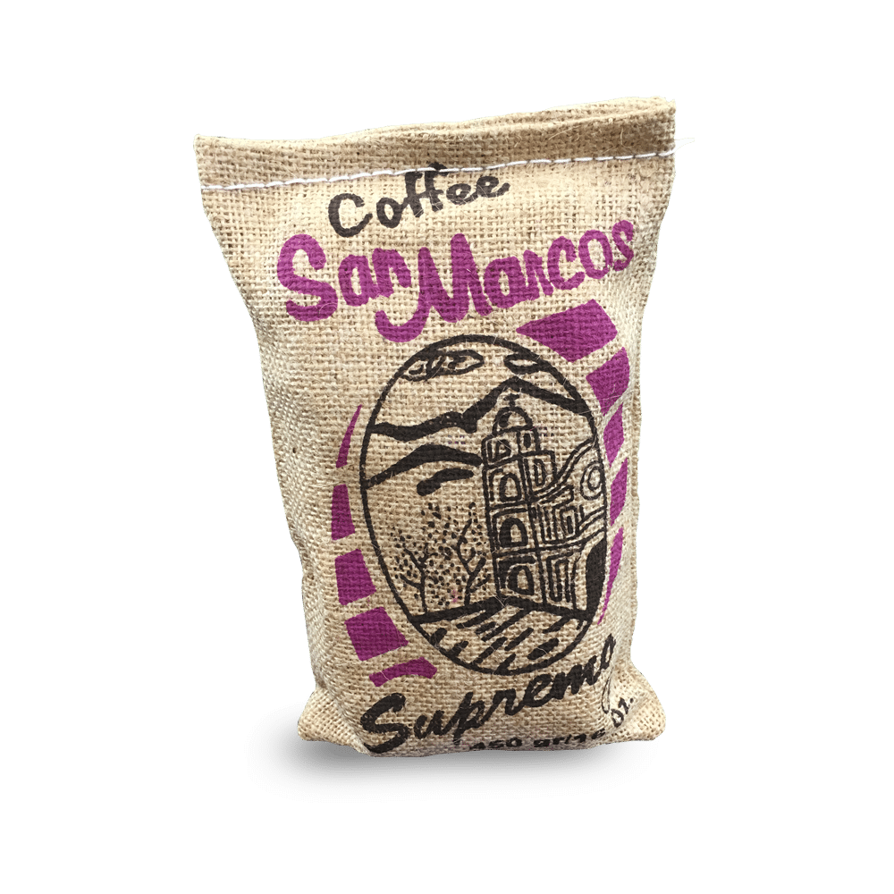 Our strictly High Grown Cafe San Marcos Supremo® (SHG), offers Bright dominate hints of bittersweet notes & smoky overtones. With a full body that reveals the best flavor and instantly envelops your senses of both taste and smell.  Most Popular for Espresso Blends, Strong & Bold. This signature coffee from Honduras comes in a Handmade Burlap Bag.