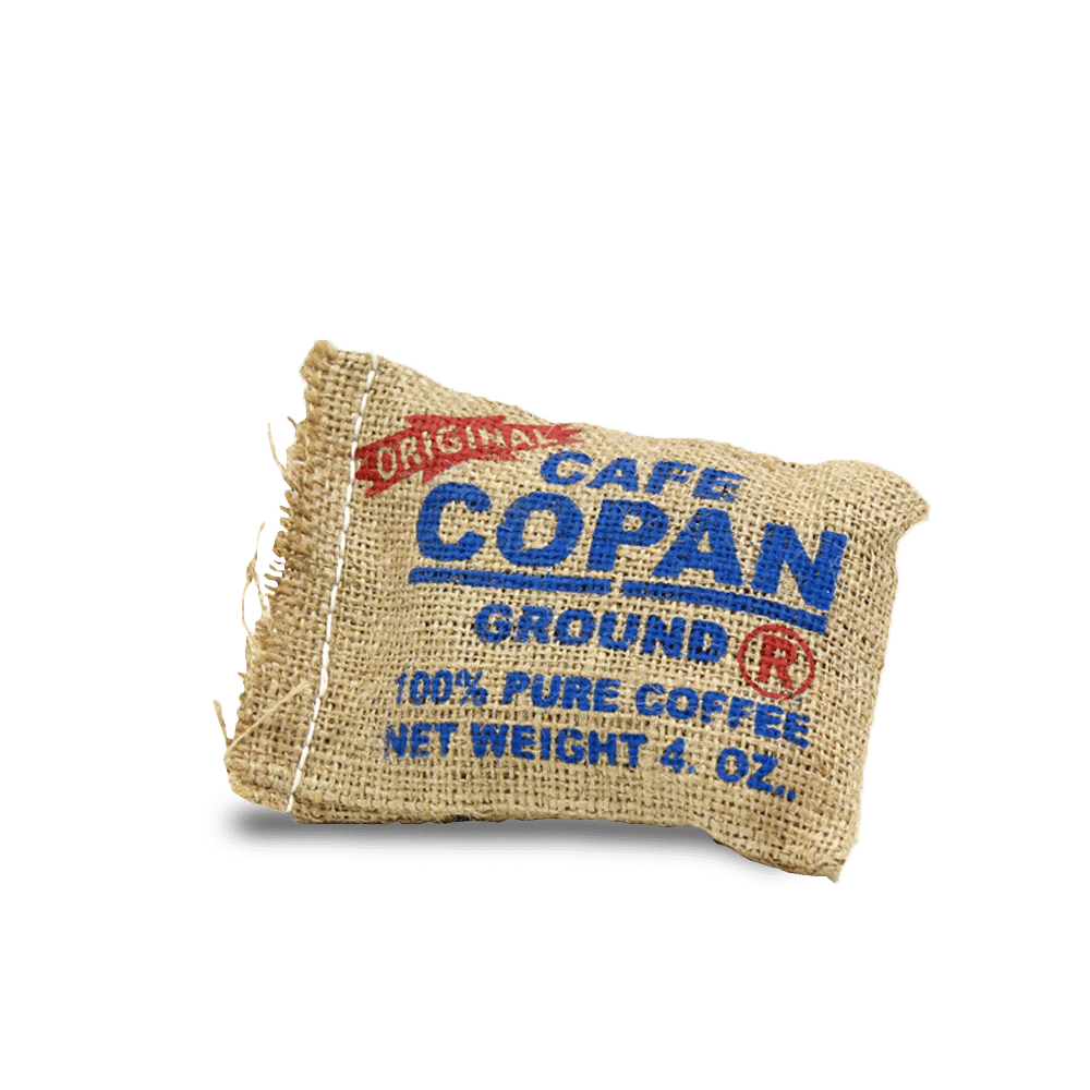 Cafe Copan Our first and still best selling coffee, Cafe Copan is pure premium high grown (HG) coffee. We buy direct from the grower here in western Honduras and roast it ourselves in Tomball, Texas. This coffee comes in a handmade burlap bag which makes it ideal for a small gift or a favor for weddings.