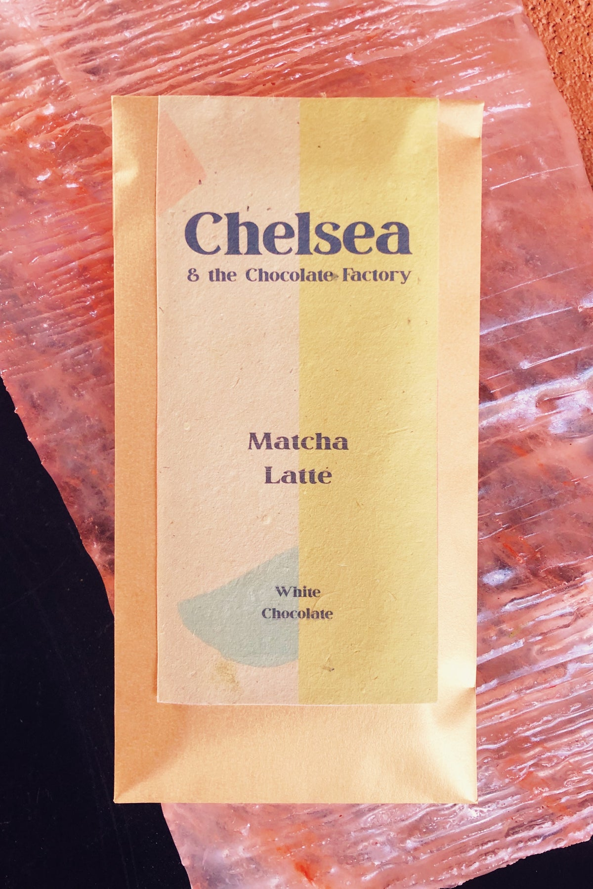 matcha latte white chocolate bar by chelsea and the chocolate factory