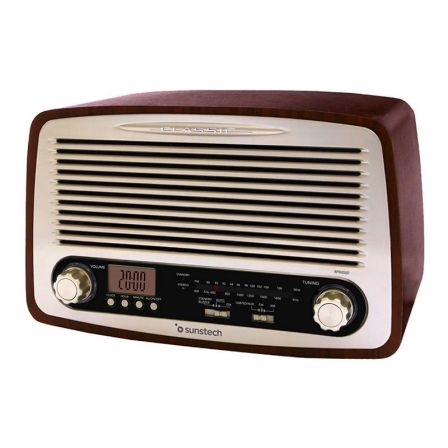 RADIO RETRO SUNSTECH RPR4000 MADERA - 2*3W RMS - AM/FM - PANTALLA LCD - RELOJ Y ALARMA - USB/SD/AUX-IN - RED/2*AAA