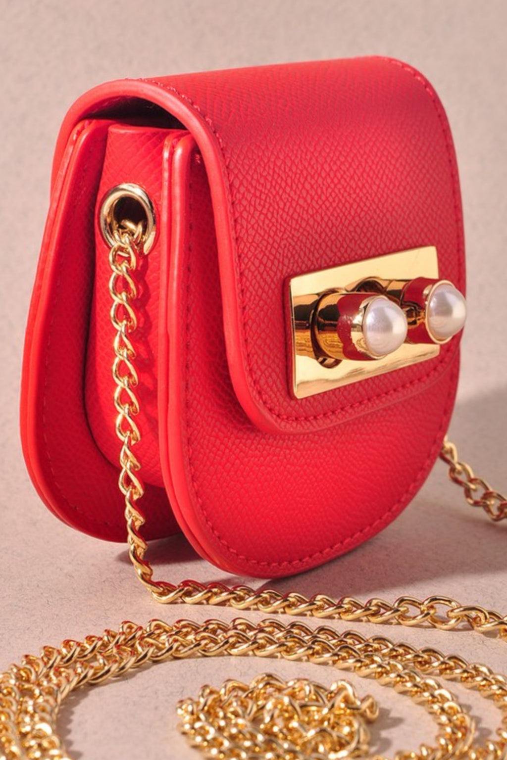 Leather & Pearl Mini Bag - Red