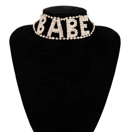 """Babe"" Bling Necklace (Gold)"