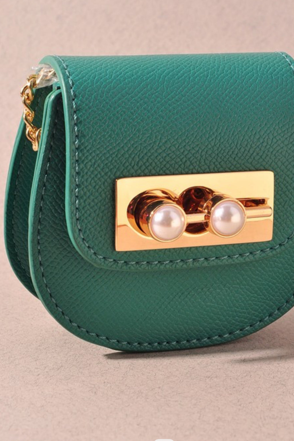 Leather & Pearl Mini Bag - Teal