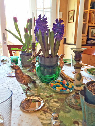 Easter Table Candy and Pots of flowers